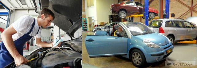 Процесс разборки автомобиля и инструмент для автосервиса