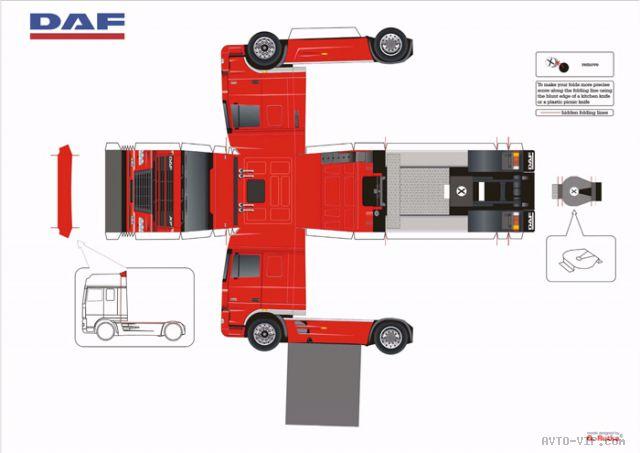 тягач DAF бумажная модель